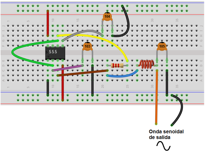 Sine wave generator breadboard circuit with a 555 timer