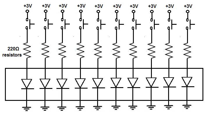 10 segment LED bar graph circuit with manual pushbutton control
