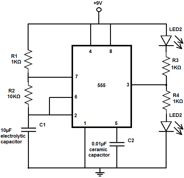 how to build an led flasher circuit with a 555 timer chip rh learningaboutelectronics com flashing led using 555 timer circuit diagram flashing led project circuit diagram