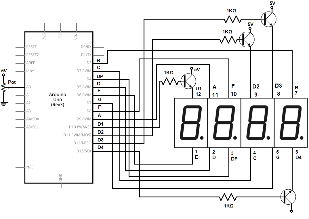 4-digit 7-segment LED display circuit with an arduino