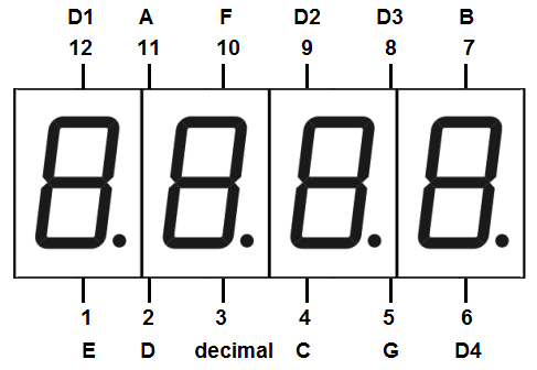 4-digit 7 segment LED display pinout