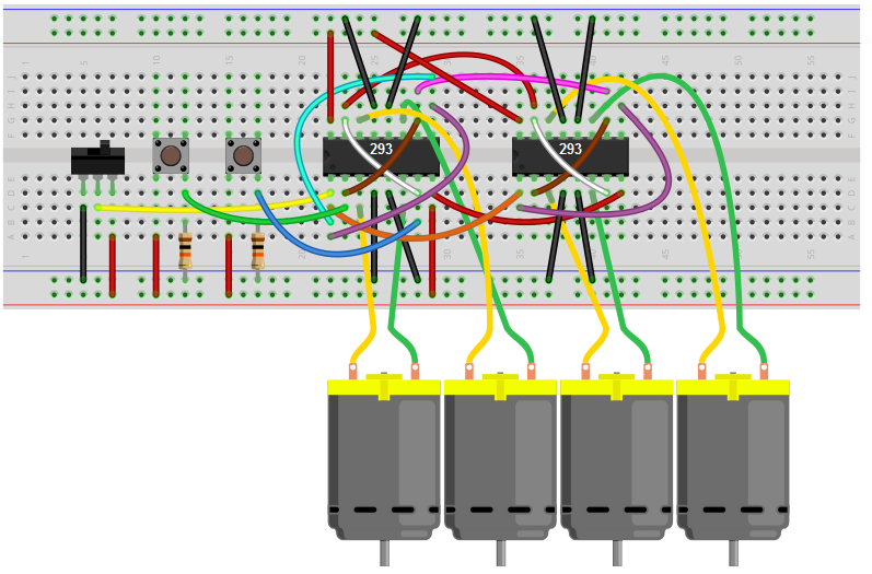 How to build an h bridge circuit to control 4 motors 4 motor h bridge circuit breadboard schematic publicscrutiny Image collections