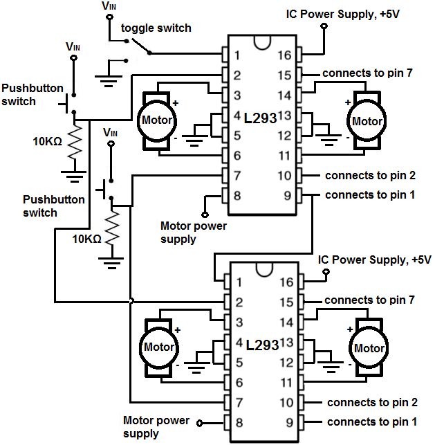 How to build an h bridge circuit to control 4 motors 4 motor h bridge circuit publicscrutiny Image collections
