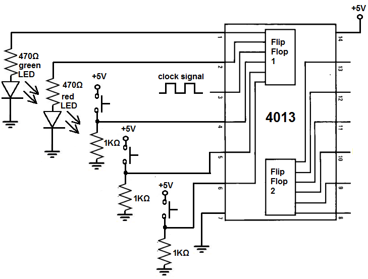 Flip Flop Diagram Circuit | How To Build A D Flip Flop Circuit With A 4013 Chip