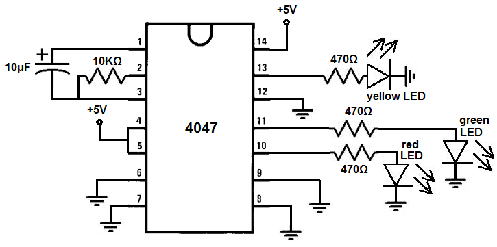 how to build a multivibrator circuit with a 4047 chip