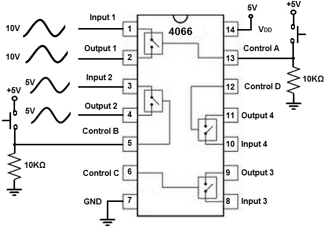 how to build a 4066 quad bilateral switch circuit