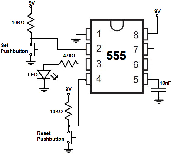 how to build a 555 timer bistable circuit