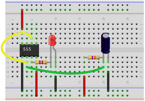555 timer delay before turn off breadboard circuit