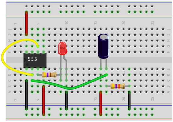 555 timer delay before turn on breadboard circuit