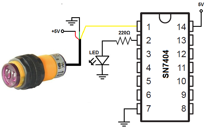 7404 Inverter Circuit on infrared circuit diagram