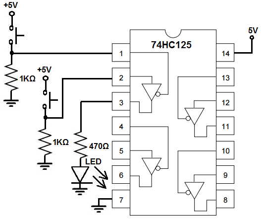 How To Build A Tri State Buffer Circuit With A 74hc125 Chip