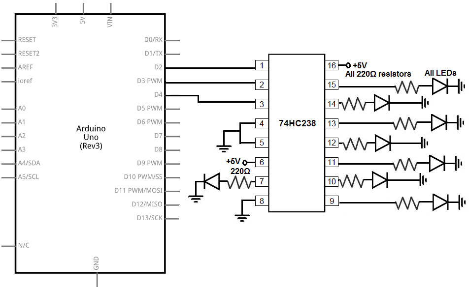 how to connect a 74hc238 3 demultiplexer to an arduino