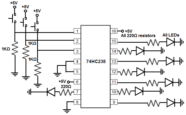 how to build a 74hc238 3 demultiplexer circuit