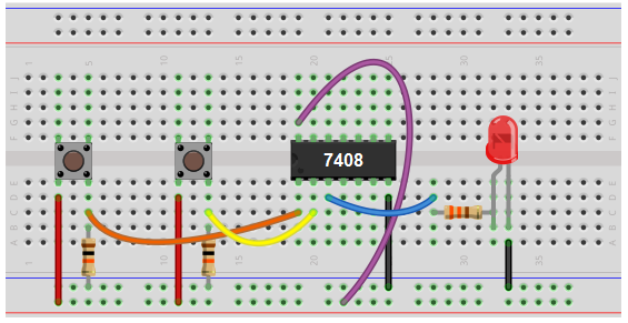 AND gate circuit using pull down resistors breadboard schematic