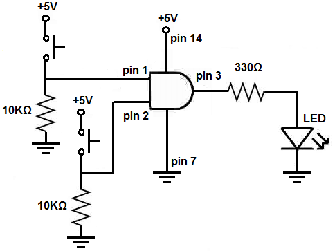 AND gate circuit using pull down resistors