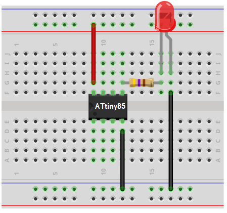 ATtiny85 LED blinker breadboard cirucit