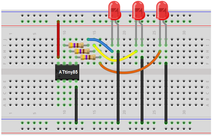 ATtiny85 LED breadboard circuit
