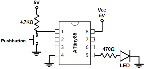 ATtiny85 pushbutton circuit