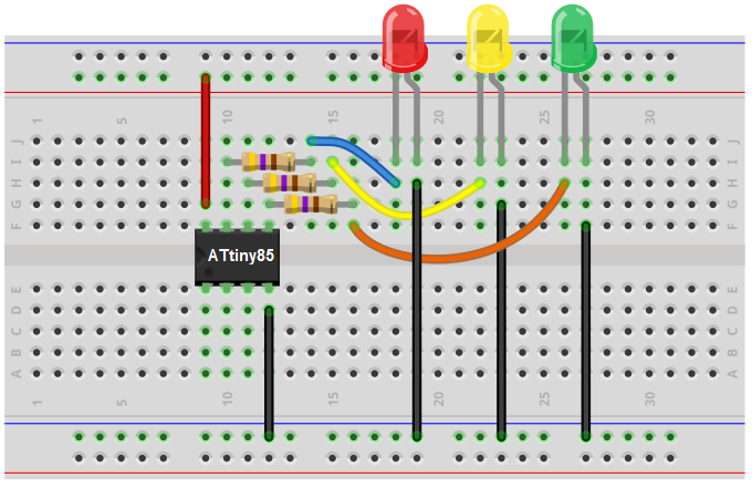 How To Build A Traffic Light Circuit With An Attiny85