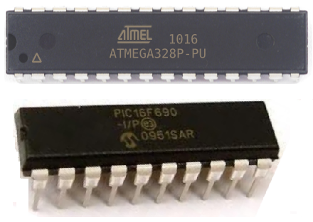Atmel AVR and PIC microcontrollers