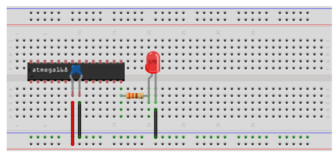 AVR blinking LED circuit