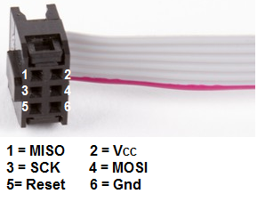 AVR programmer 6-pin cable wiring