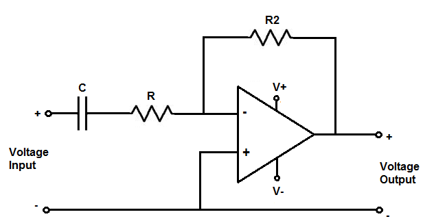 high pass filter calculator rh learningaboutelectronics com high pass filter circuit diagram high pass filter circuit diagram using op amp