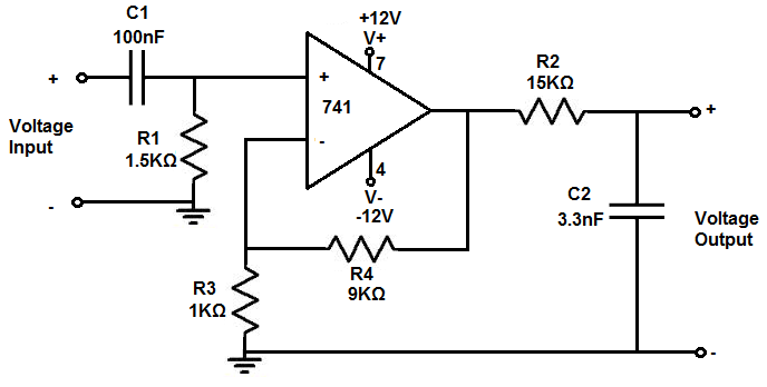 how to build an active bandpass filter circuit with an op amp