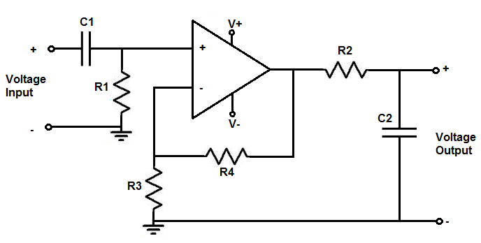 Low pass filter using op amp calculator.