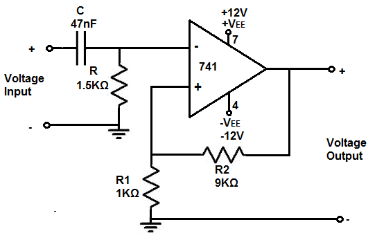how to build an active high pass filter circuit with an op amp