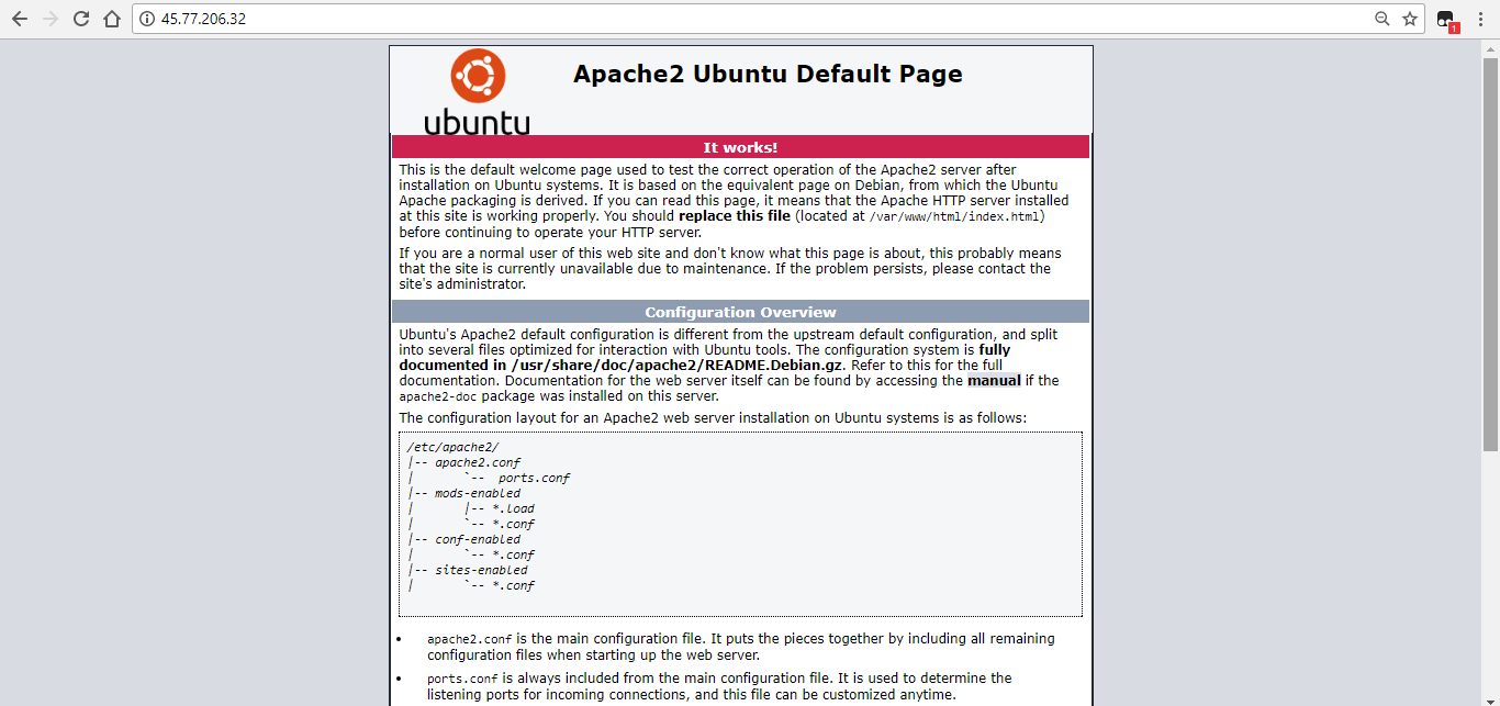 Apache2 default welcome page
