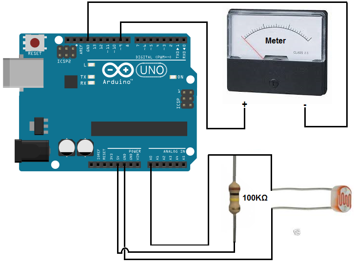 Arduino light meter circuit
