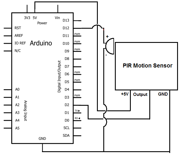 Motion Detector Alarm Circuit on piezo buzzer circuit diagram