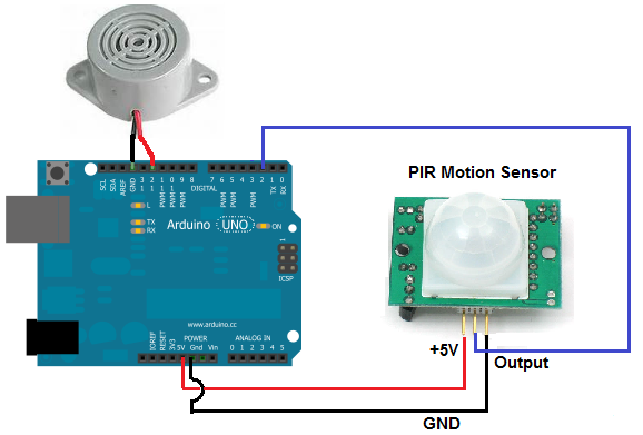 Motion detector alarm circuit built with arduino