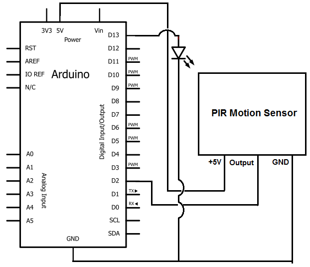 How to build a motion sensor light circuit with an arduino arduino motion sensor circuit schematic asfbconference2016