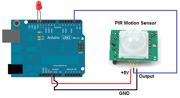 Arduino motion sensor light circuit
