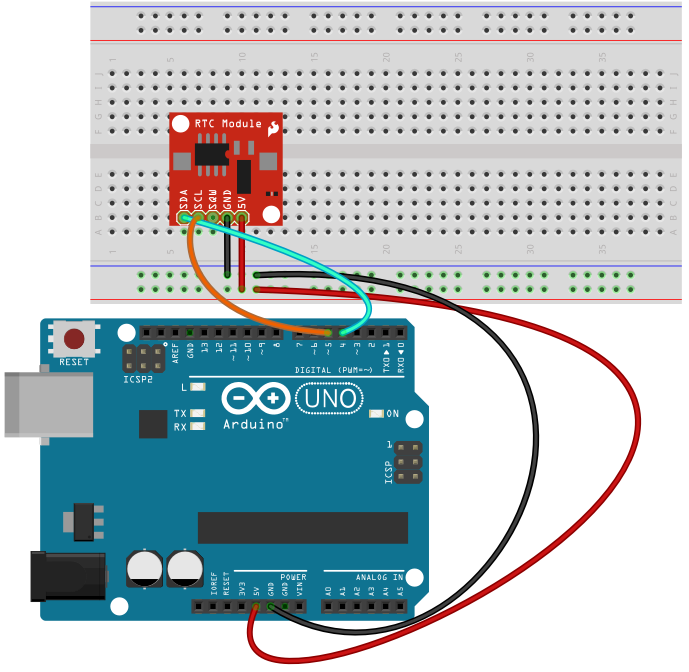 Arduino schematic diagram of real time clock wiring