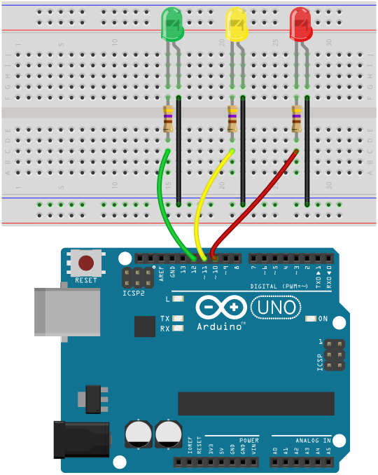 arduino traffic light breadboard circuit