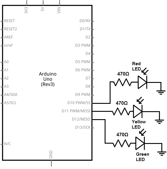 traffic light circuit diagram using arduino
