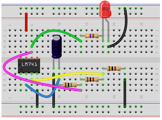 Astable multivibrator breadboard circuit with an LM741 op amp