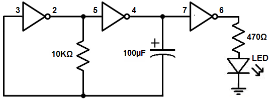 how to build an inverter circuit with an 7404 chip