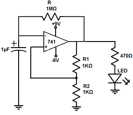 how to build an astable multivibrator circuit with an lm741 op amp chip