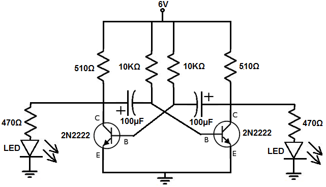 how to build an astable multivibrator circuit with transistors