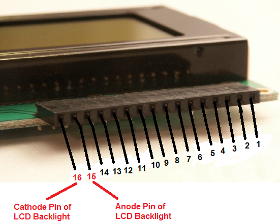 Backlight Pins of HD44780 LCD