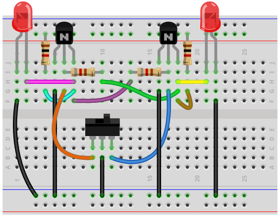 Bistable Multivibrator Circuit With Transistors on 2n2222 transistor