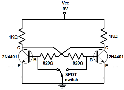 Bistable multivibrator circuit with transistors