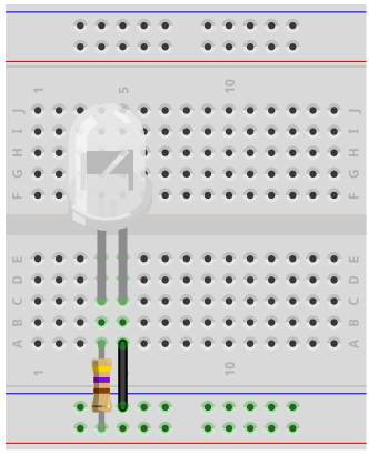 Blinking LED breadboard circuit