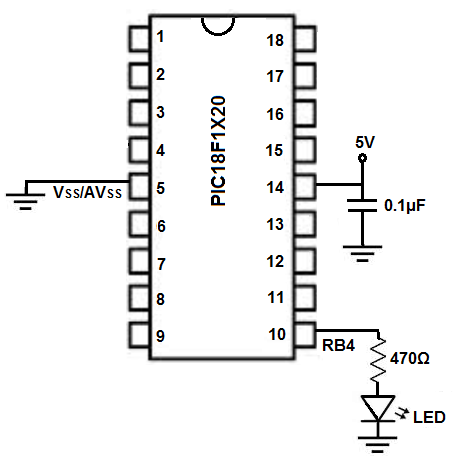 Blinking LED circuit with PIC18F1220
