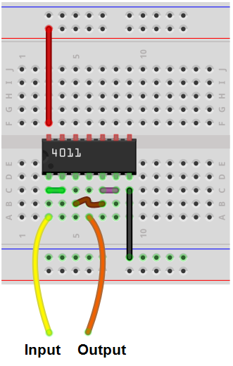 Buffer built with NAND gates breadboard circuit