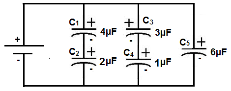 Capacitor circuit with series and parallel capacitors